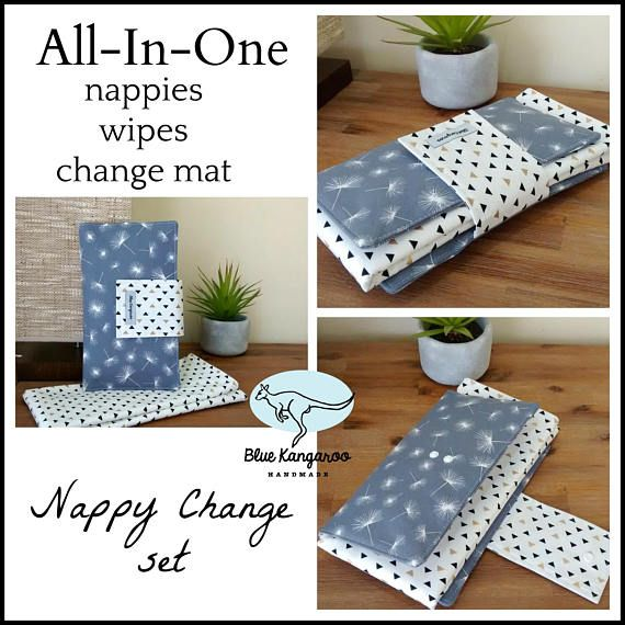 Nappy change set waterproof mat and nappy wallet travel set