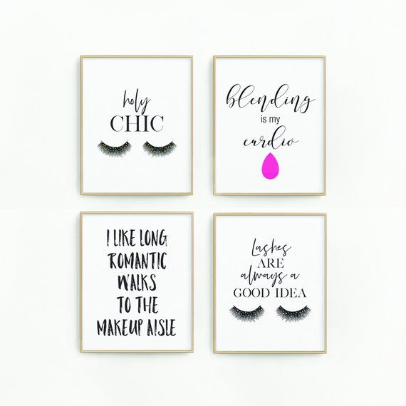 Makeup Decor Makeup Wall Art Makeup Quotes Salon Prints Makeup Decor Prints Makeup Printables Lashes Prints Makeup Art Makeup Wall Art Salon Print Girly Wall Art