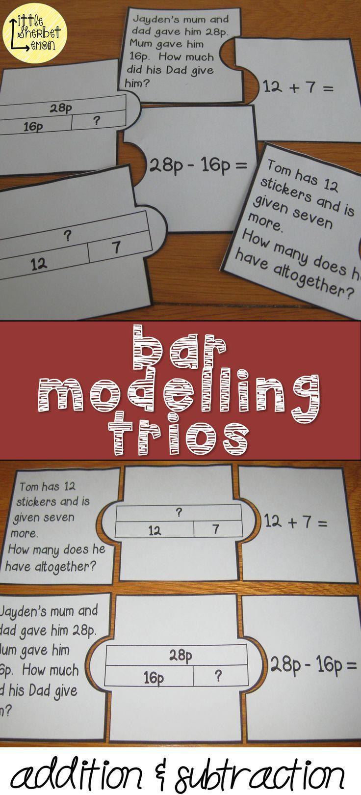 Addition And Subtraction Bar Model Trios Grade 1 2 Addition And Subtraction Bar Model Word Problems Addition and subtraction bar model