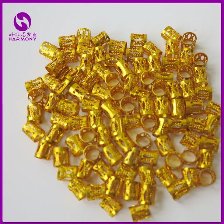 (100 teile/beutel) Gold metallrohr ring dreadlock perlen für zöpfe haar perlen für dreadlocks einstellbar haar geflecht manschette clips