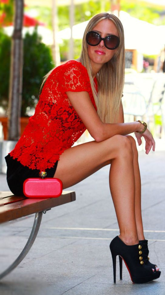 Red Lace Top Outfit Idea by Style Lover  www.puddycatshoes.com