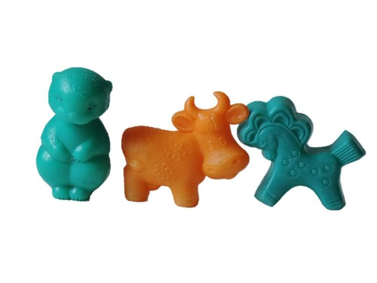 Toy Beaver Cow Horse Lot 3 pcs Vintage Old Soviet era Celluloid bathtub 1970-80