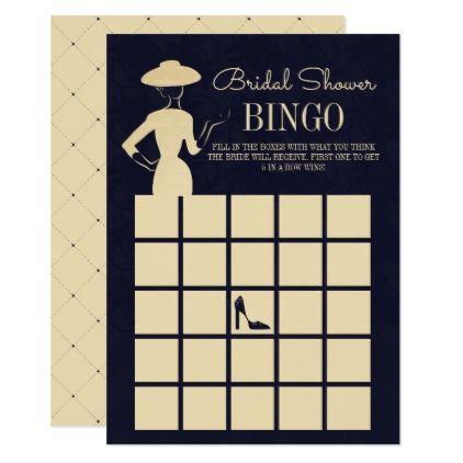 Classic Vintage Fashion Bridal Shower Bingo Card - invitations custom unique diy personalize occasions
