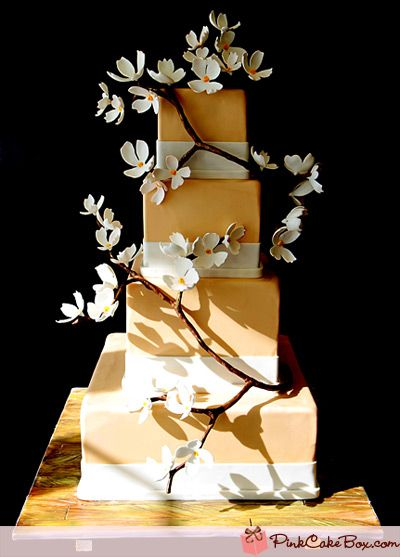 Whichever flower I choose, think I like the wrapping branch look.: Decor Cakes, Pink Cakes, Tiered Dogwood, Cakes Boxes, Cakes Decor, Wedding Cakes, Eating Cakes, Flowers Cakes, Cakes Design