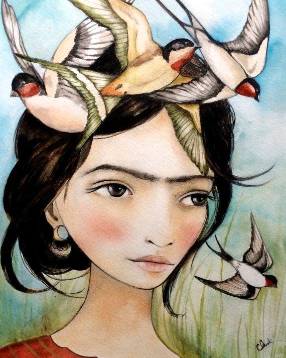 She liked swallows art print by claudiatremblay on Etsy