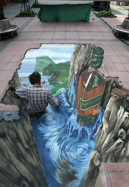 3D street art. Taipei. Underworld of Johnnie Walker. (via Manfred Stader)
