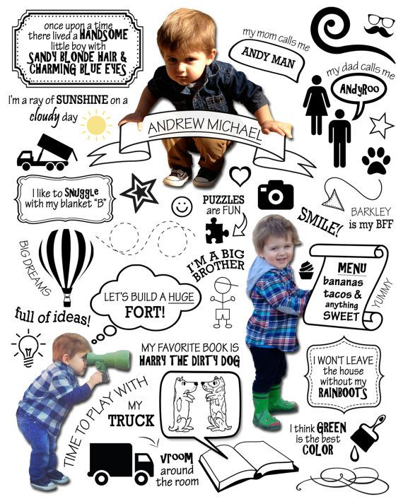 Medium Custom Year One Infographic - Baby's First Year, First Birthday Gift, 1st Year Photo, Statistics, Milestones, Scrapbook, Collage