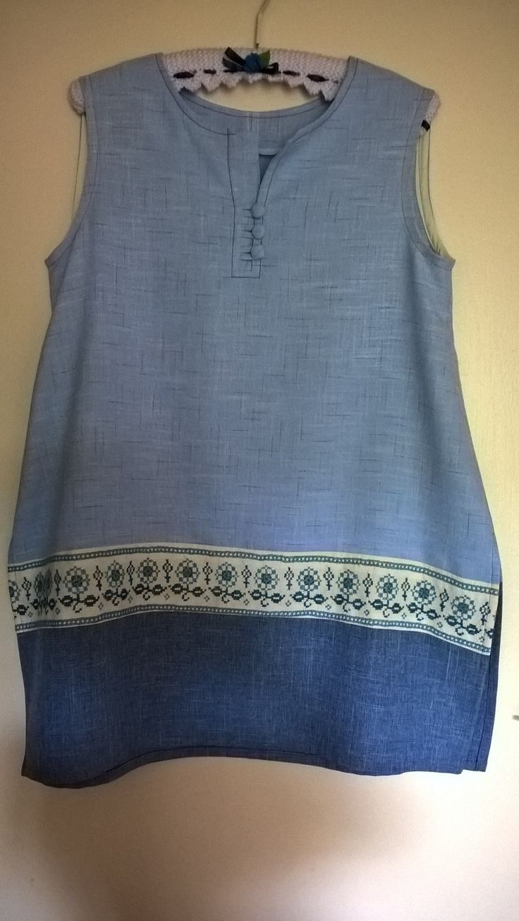 Tunic with vintage embroidery panel
