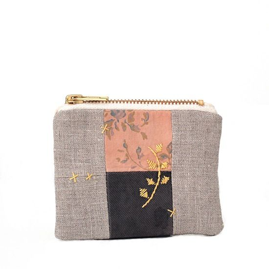 Patchworked mini zipped pouch (naturally dyed fabrics), by Cozy Memories