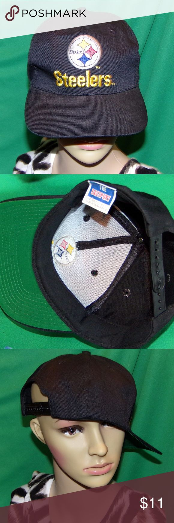 Pittsburgh Steelers Hat,  Vintage Embroidered NFL Pittsburgh Steelers Hat,  Vintage Embroidered NFL Baseball Cap, LOW & FAST Shipping. This is a black hat with green under the brim color. The hat is from a collection and is unworn and unused. It is near impossible to find things from the late 80's early 90's in this condition.Another fine deal brought to you & checked by our crack team of inspection fairies who have given it their two wings up kiss of approval so you can buy with confidence…