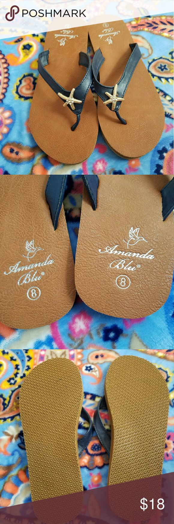 Starfish Sandals Brand New! Flip flops with Navy straps and rose gold colored starfish adorned with rhinestones.  How cute?! Shoes Sandals