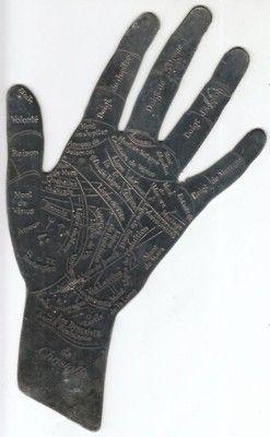 vintage palm reading chart.