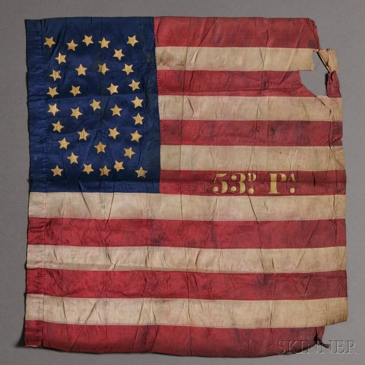"""Civil War Pennsylvania 53rd Regiment Pieced and Gilt-stenciled Silk American Flag, c. 1864, likely a camp flag, with a hand-stitched field composed of seven red and six white stripes, the central red stripe with the gilt inscription """"53D. PA.,"""" the blue canton ornamented with thirty-four gilt-stenciled stars, the inner sleeve reinforced with linen,     Provenance: From Captain Archibald F. Jones, (b. January 7, 1824, d. March 8, 1879."""