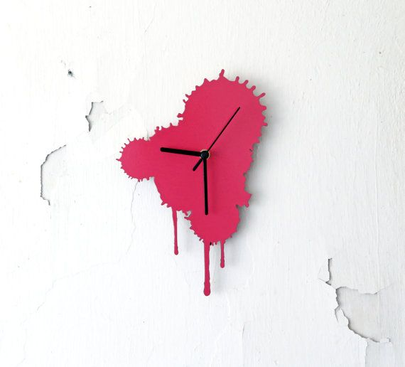 Ink Splatter. Modern Wall Clock. Pink Wall Clock. Living by Railis, $59.00