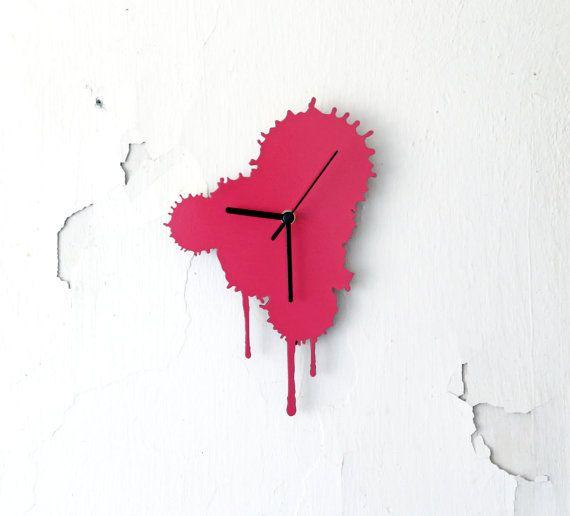 Ink Splatter. Modern Wall Clock. Pink Wall Clock. Living Room Decor. Rustic home.