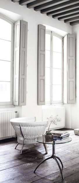 = grey french shutters and white chair