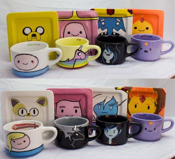 Adventure Time Mug and Saucer (set of 4)