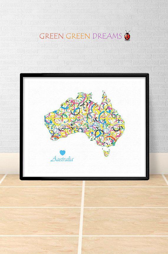 Australia Map Print Poster Wall art  Australia AUS States Maps Australia printable download Home Decor Digital Print gift GreenGreenDreams