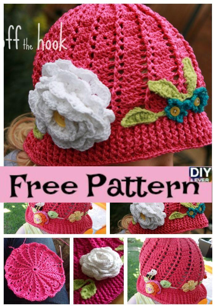 diy4ever Crochet Flower Sun Hats Free Pattern P2 - Crochet Flower Sun Hats - Free Pattern