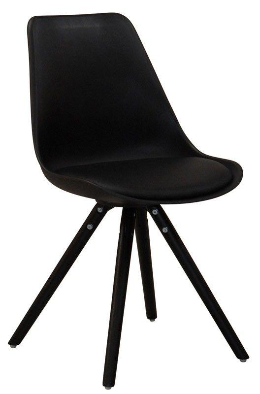 Woody Spisebordsstol - Flot spisebordsstol i sort plast med sæde i kunstlæder samt elegante sortmalede egeben. Spisebordsstolens skalform og polstrede sæde sørger for optimal siddekomfort. Anvend spisebordsstolen i den moderne spisestue.