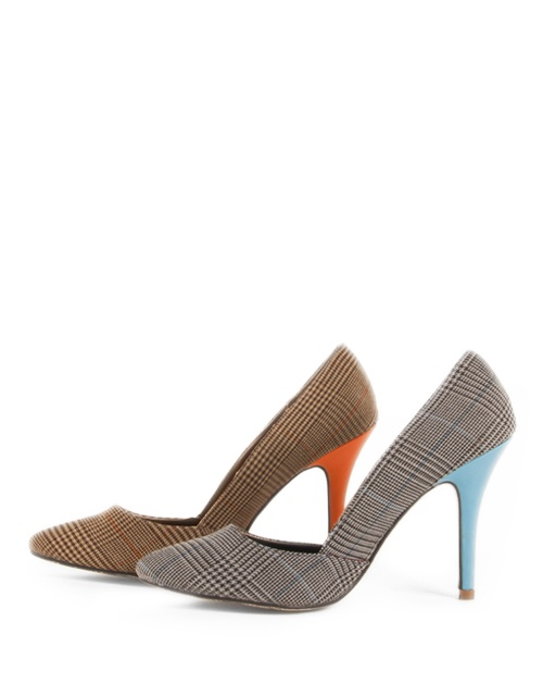 Check fabric orsay pumps in two color combination. Grey with blue heel and beige with orange heel. Height of heel: 10.5 cm. #fw13 #fashion #womensfashion #shoes #check #highheels #pumps