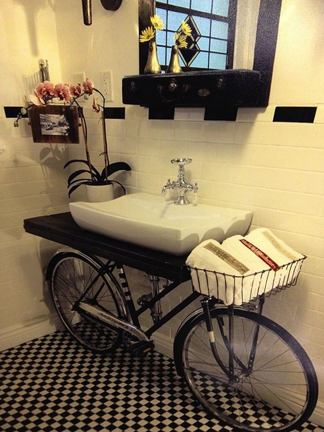 Unique Bathroom Design with Recycled Bicycle Sink, Discover home design ideas, furniture, browse photos and plan projects at HG Design Ideas - connecting homeowners with the latest trends in home design & remodeling Best Bathroom Designs, Modern Bathroom Design, Bathroom Ideas, Bathroom Sinks, Washroom, Bathroom Interior, Bicycle Sink, Amazing Bathrooms, Diy Furniture