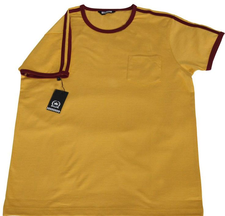1970s Style Ringer T-Shirt Mustard  Very High Quality Cotton Northern Soul