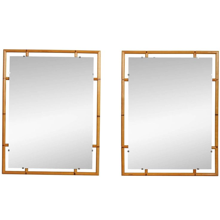 Pair of Mid-Century Faux Bamboo Mirrors, 1970s | 1stdibs.com