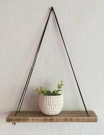 Swing Shelf - Reclaimed Wood Shelf - Wood and Leather - Urban Shelf - Simple… More