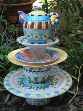 Teapot Whimsy - Fun, playful teapot garden totem.