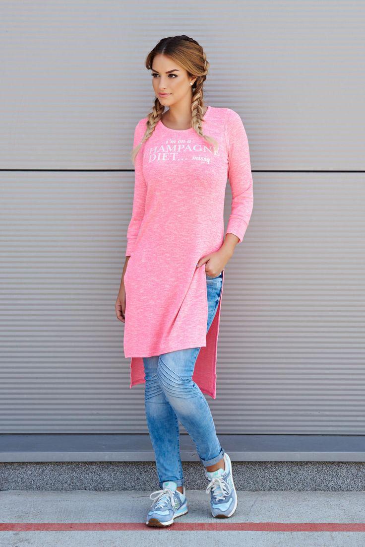 Bluza MissQ Champagne Pink. Bluza MissQ din bumbac, cu croi asimetric, maneci…