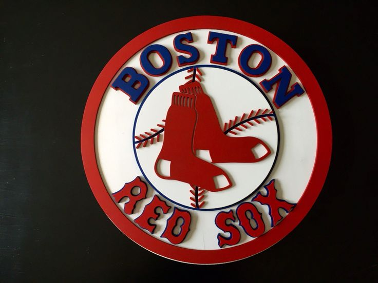 Boston Red Sox 3-D logo wood sign. Hand jigged wood sign. Custom woodworking. Hand made by Kate Hall. Red Sox wall decor. Boston Red Sox wood sign.