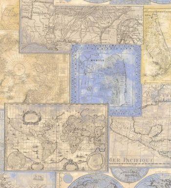 Papel pintado collage de mapas cartográficos estilo antiguo - 1142333