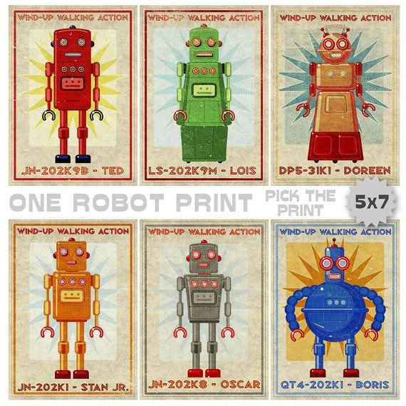 "Retro Robot Art Print- 5"" x 7""- One Robot Print- Boys Nursery Art- for Boys Room Retrobot Series- Robot Wall Art for Kids Room- Sci Fi Art"