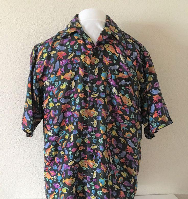 Whitby Colorful Fish Ocean Camp Hawaiian Aloha Tiki Button Front Silk Shirt Med #Hawaiian #ButtonFront
