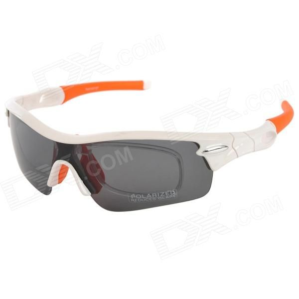 Frame Color: White; Lens Color: Grey; Quantity: 1 Set; Shade Of Color: White; Frame Material: PC; Lens Material: PC; Protection: UV400; Gender: Unisex; Suitable for: Adults; Frame Height: 4.5 cm; Lens Width: 13.5 cm; Bridge Width: 2 cm; Overall Width of Frame: 15 cm; Packing List: 1 x Sunglasses1 x Cleaning cloth1 x Pouch1 x Strap1 x Carrying box2 x Pairs of lens (yellow + orange); http://j.mp/1toLpfy