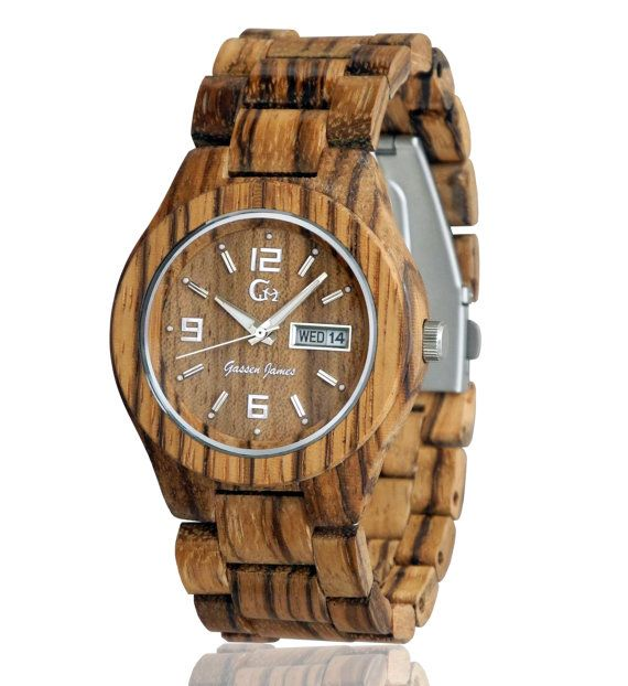 Wood Watch Handmade from Zebrawood {Acadia}