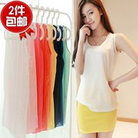 2014 sleeveless chiffon vest neon candy color chiffon shirt women's vest spaghetti strap basic shirt female