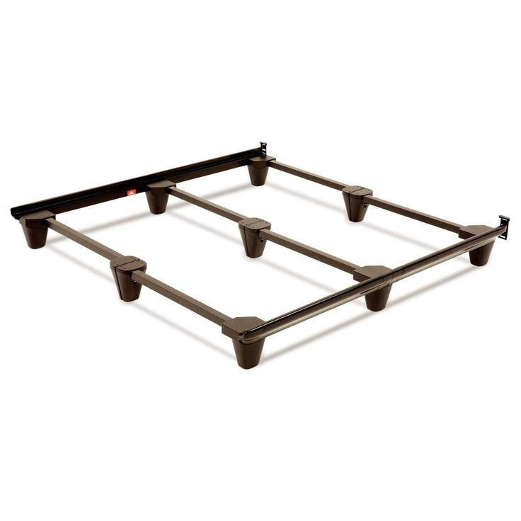 Presto Universal Sized Folding Bed Frame with Headboard Brackets and Mahogany Finish