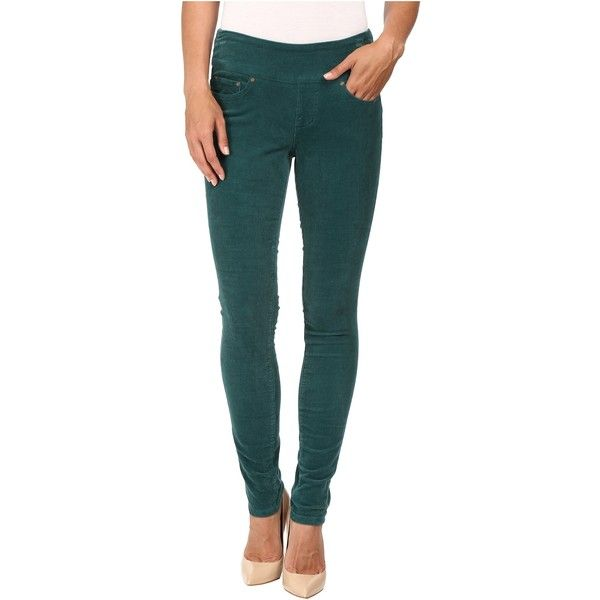 Jag Jeans Nora Pull-On Skinny 18 Wale Corduroy (Shade Teal) ($33) ❤ liked on Polyvore featuring jeans, green, pull on jeans, stretch waist jeans, super stretch skinny jeans, zipper skinny jeans and teal skinny jeans