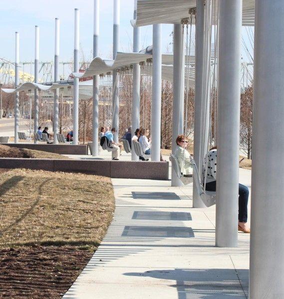 Swings at Smale Riverfront Park in Cincinnati, Ohio