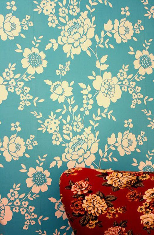 Aqua and Red bold floral patterns