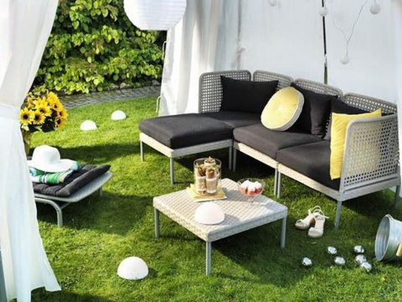 Furniture, Captivating Ikea Outdoor For Summer With Paper Bubble Pendant Lighting Above Comfy Patio Sofa Bed Feat White Square Wicker Rattan On White Canopy: Set Your Exterior House With Excellent Ikea Outdoor Furniture 2011