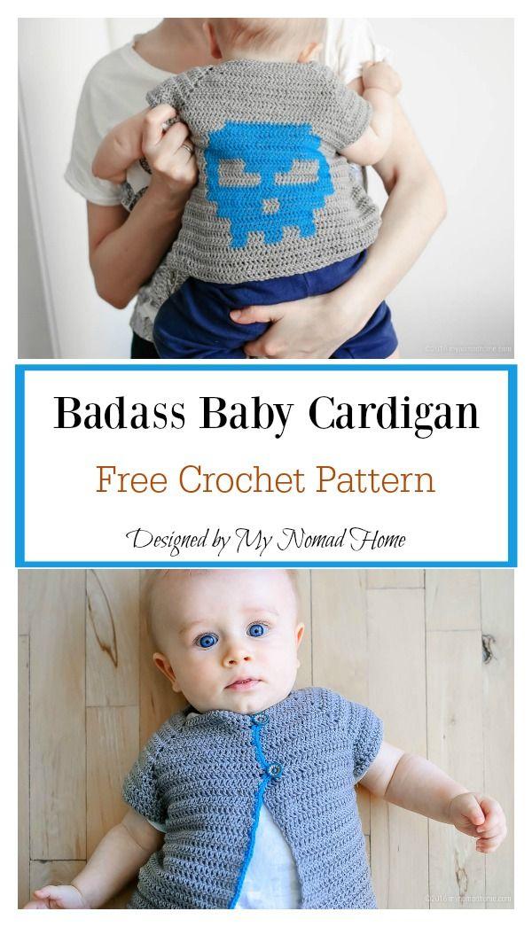 Badass Baby Cardigan Clothing Crochet Free Pattern | Crochet Baby ...