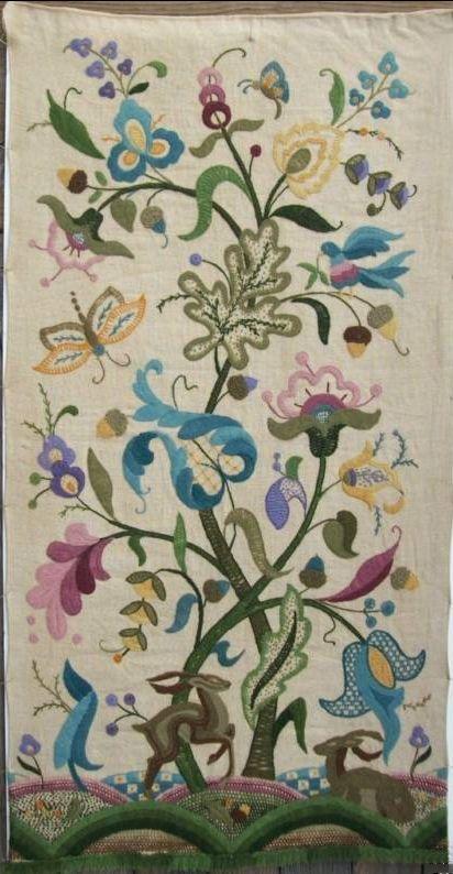 1932 Alaska Crewel Embroidery wall hanging with floral & animal work.