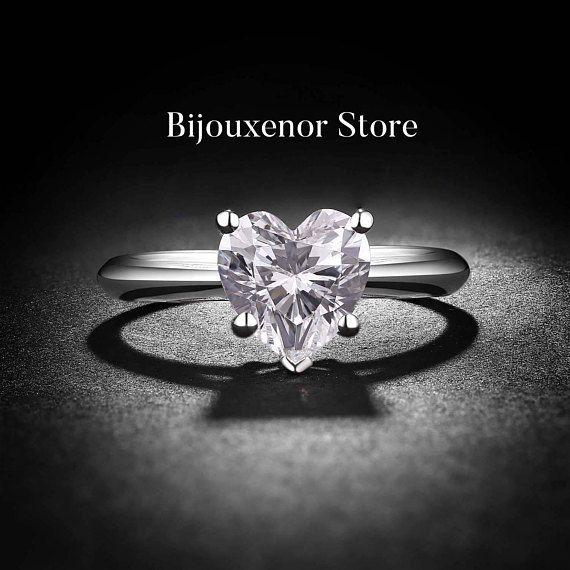 Heart solitare-whitegold-14k-1ct-Engagement ring-Anniversary