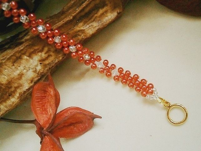 RED PEARL AND CRYSTAL BEADED BRACELET £6.00 http://folksy.com/items/4937222-RED-PEARL-AND-CRYSTAL-BEADED-BRACELET