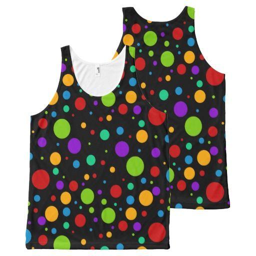 Colorful Rainbow Polka Dots All-Over Print Tank Top Tank Tops