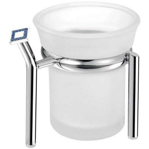 SCBA Angel Swarovski Toothbrush Toothpaste Holder Bath Tumbler, Frosted Glass