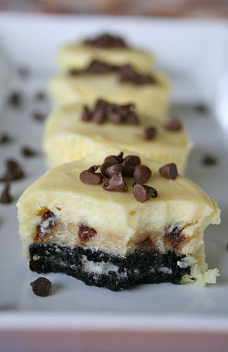 Chocolate Chip Cookie Dough Oreo Cheesecakes.